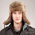 Cx-c-26b europeu Earflap Cap coelho Fur Genuine russo chapéu dos homens do projeto
