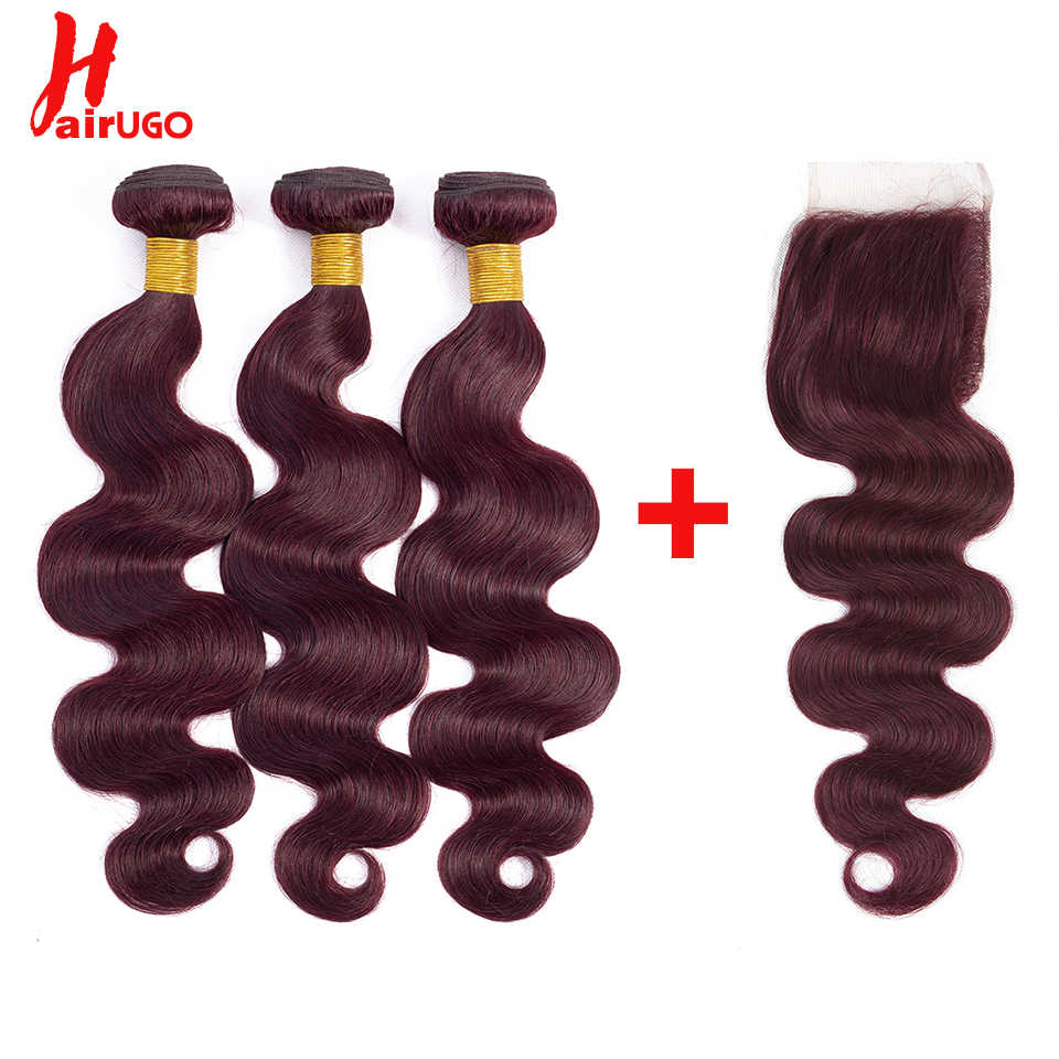 HairUGo Ombre Human Hair Bundles With Lace Closure Non Remy Brazilian Body Wave Bundles with Closure 99J Color Hair Weaving