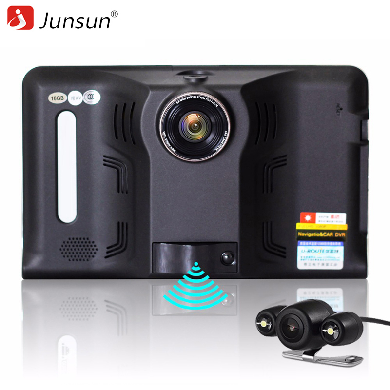 Junsun 7 inch Android Car DVR GPS Radar Dash Camera Video Recorder 16GB Rear view Truck GPS Navigation FM AVIN WIFI sat nav