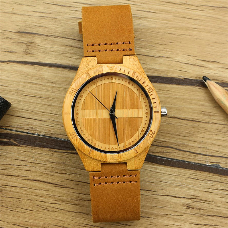 Fashion Men Watches Double Semicircle Face Handmade Watch 100% Nature Top Bamboo Modern Male Clock Real Leather Band Relogios
