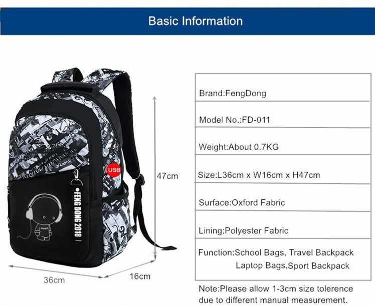 Fengdong ragazzi sacchetti di scuola impermeabile grande zaino per gli adolescenti bagpack di alta scuola zaino per il ragazzo studente sacchetto di petto set