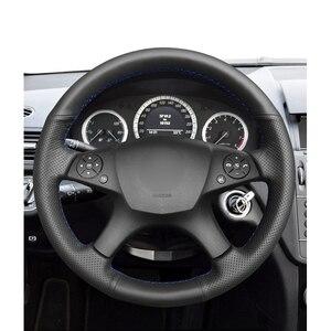 Image 2 - 메르세데스 벤츠 W204 C 클래스 2007 2010 C280 c230에 대 한 핸드 스티치 블랙 PU 인공 가죽 스티어링 휠 커버