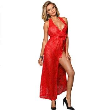 Largo erótico vestido sexi rojo cuello pico camisón de mujer ver a través de la lencería con espalda al descubierto Sexy erótico de talla grande vestido de noche RW80337