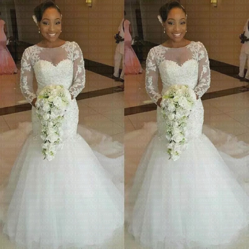 2019 New African Stunning Neckline Mermaid Wedding Dress Sweep Train Bridal Gowns