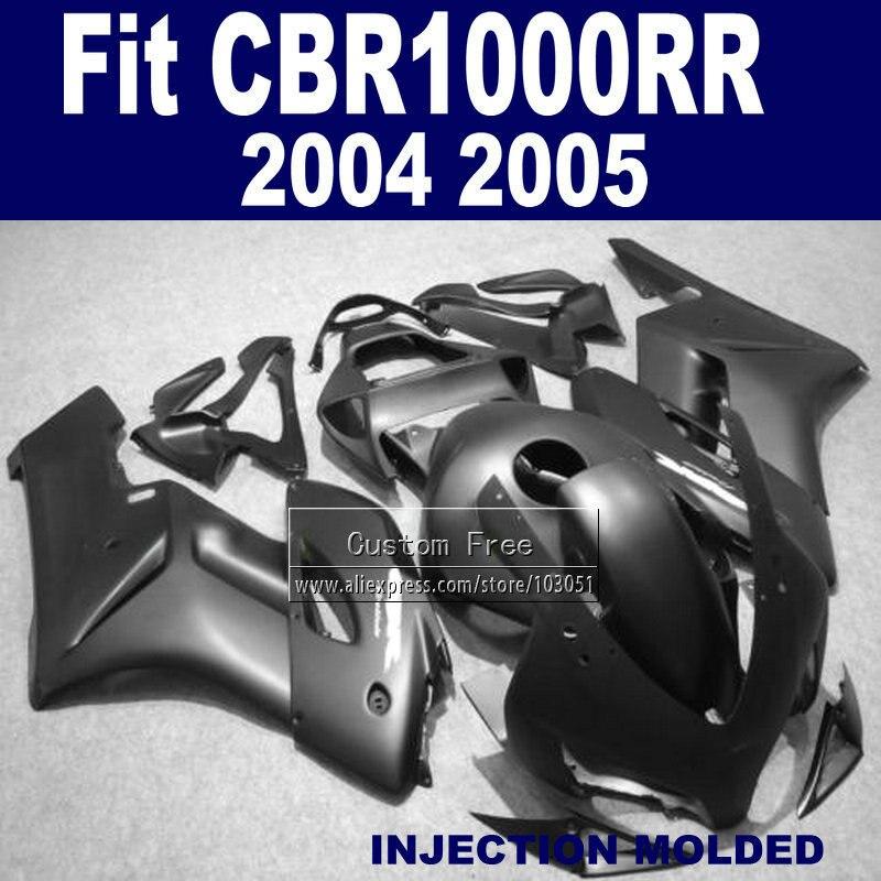 Personalizzata Iniezione ABS carena set per 2004 2005 Honda CBR1000RR CBR 1000 RR 04 05 CBR 1000RR nero opaco carenature kit