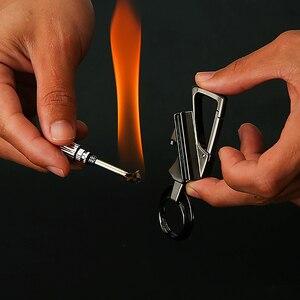 Men Car Key Chain Ignition Kerosene Match Keychain Ring Multifunction Tool Cigarette lighter Fathers Day Gift For Men Boyfriend(China)