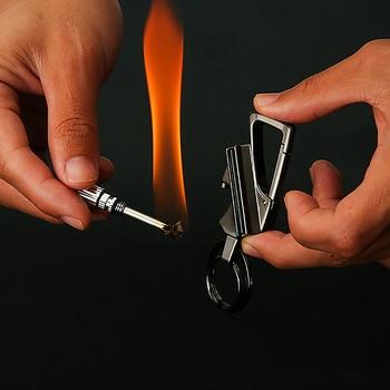 Men Car Key Chain Ignition Kerosene Match Keychain Ring Multifunction Tool Cigarette lighter Fathers Day Gift For Men Boyfriend