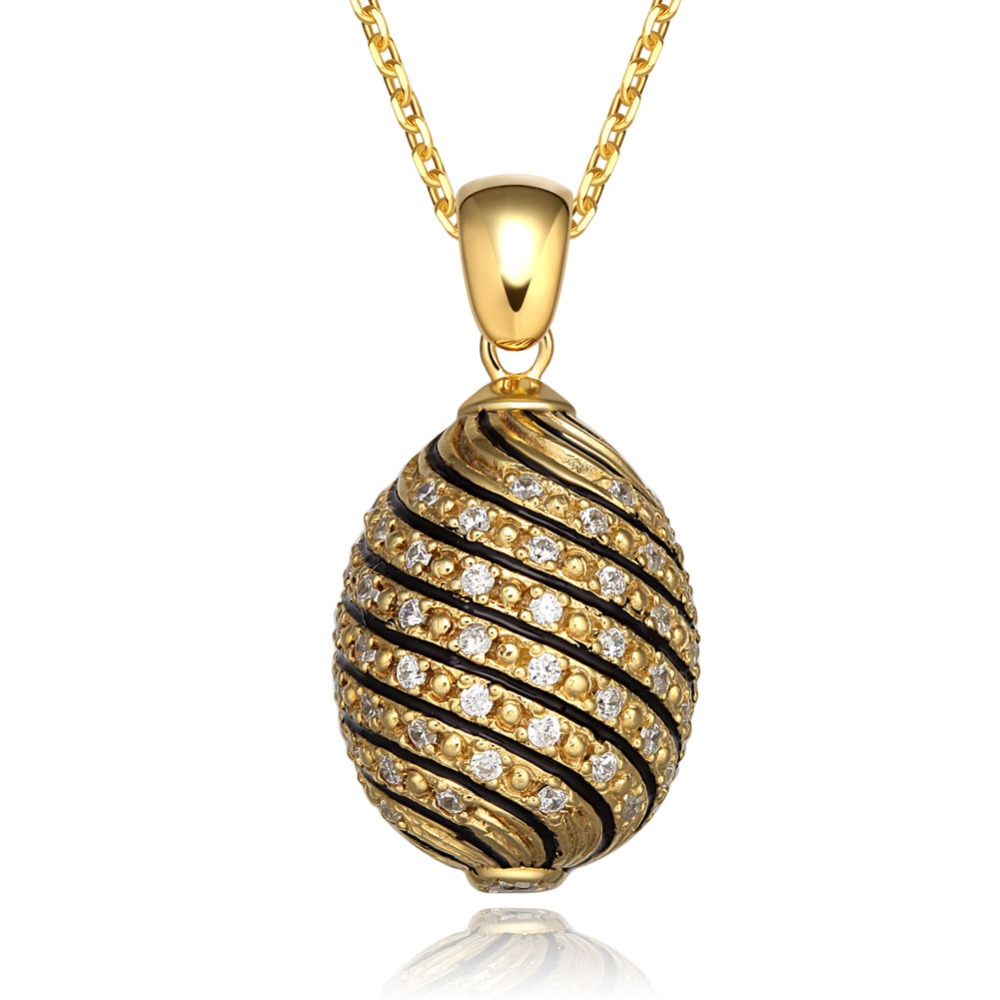 Really 925 Sterling Silver Fully Zircons Faberge Egg Pendant Crystal Rhinestone Necklace Noble Unique Easter Bonus Egg To Women beistle company mens easter egg whirls assorted