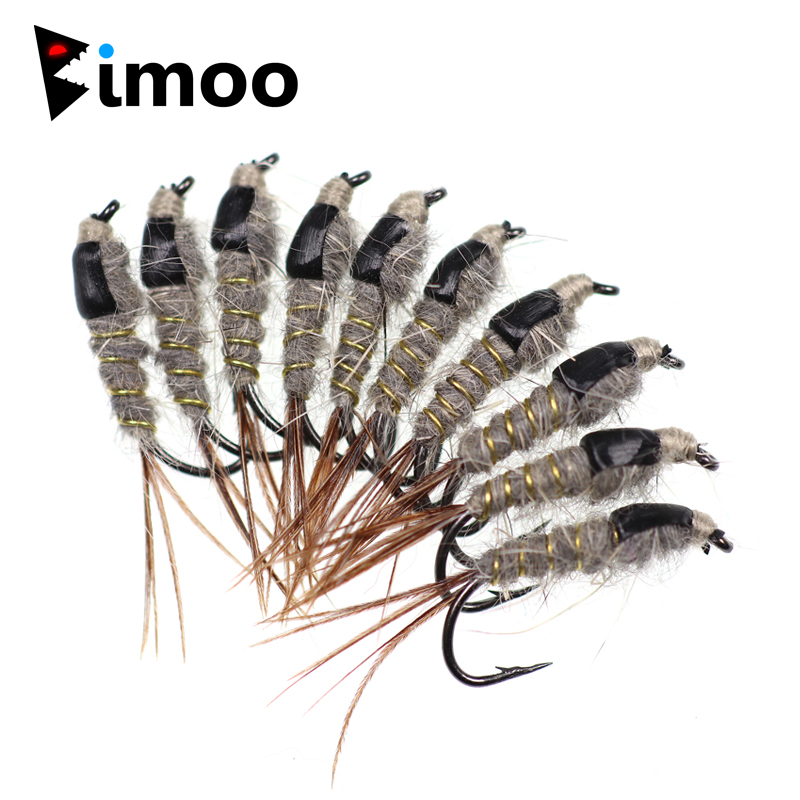 Us 3 84 11 Off Bimoo 10pcs Size 12 Grey Black Hare S Ear Nymph Fly Trout Fishing Classic Fly Bait In Fishing Lures From Sports Entertainment On