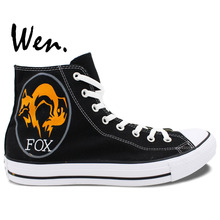 Wen Black Hand Painted Shoes Design Custom Fox Logo High Top Men Women's Canvas Sneakers for Christmas Gifts