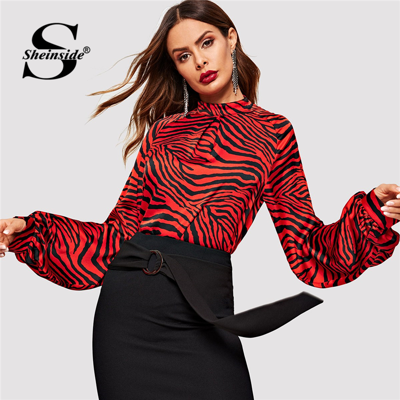 Sheinside Mock Neck Animal Print Pleated Top Long Sleeve Women   Shirts   Office Ladies   Blouse     Shirt   Autumn Womens Tops And   Blouses