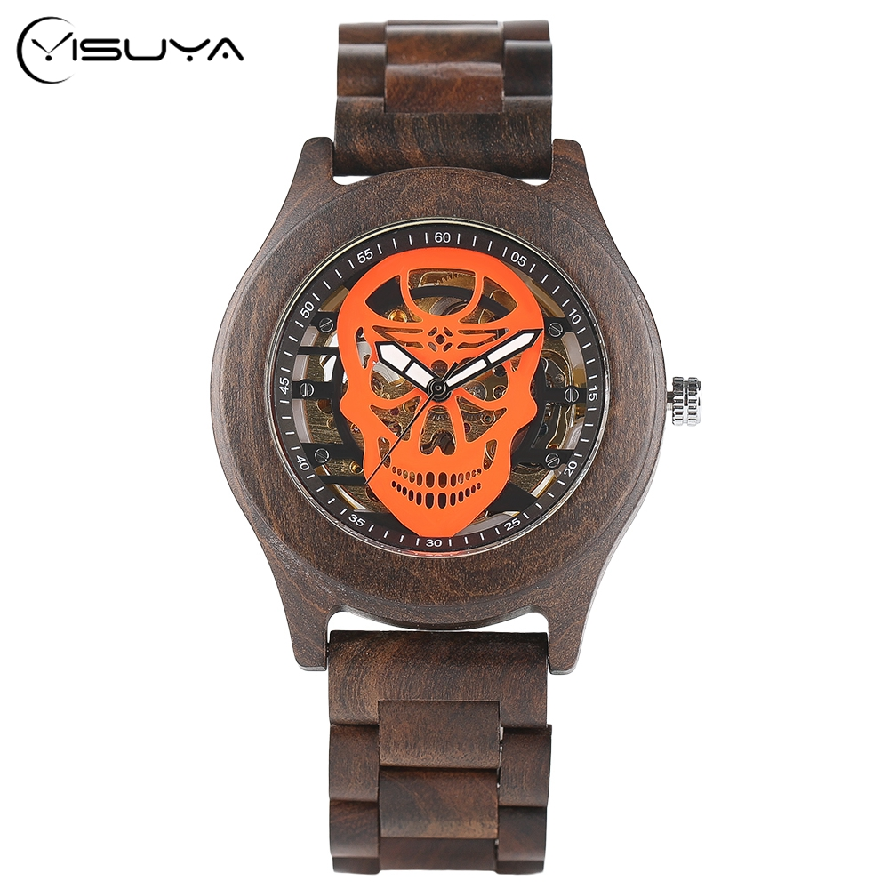 YISUYA Trendy Skull Wooden Wrist Watch Men Automatic Mechanical Red Skeleton Written Watches  Luxury Windup Bracelet Clasp Watch greg pak red skull incarnate