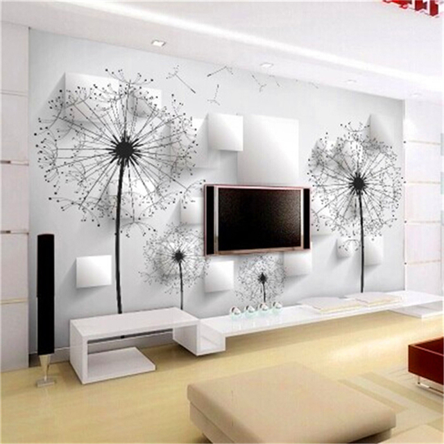 3d Wallpaper For Tv Unit Aliexpress Com Buy Dandelion Wall Covering Minimalist