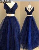 A Line Sâu V Cổ Short Sleeve Full Tay Đính Cườm Sequins Top Sexy Hải Quân Màu Xanh Hai Mảnh Dài Pageant Prom Dress vestido de festa