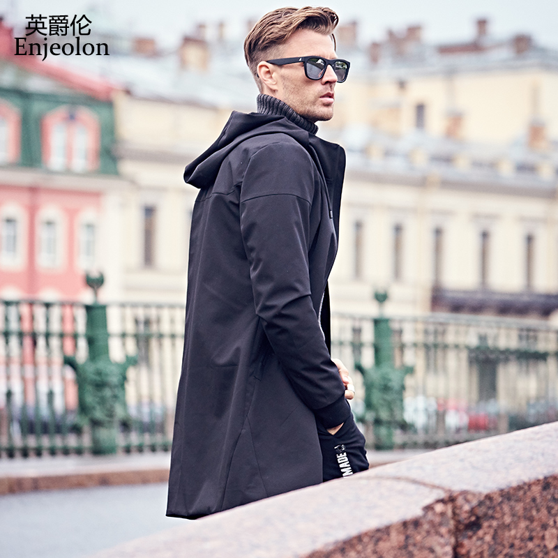 Enjeolon brand hoodies trench coat men windbreaker male mens clothing long coat black trench jacket for men 3XL JK0436