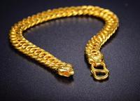 Hot sale Fine 999 24K Yellow Gold Bracelet / Perfect Boss Link Chain Bracelet 12.03g