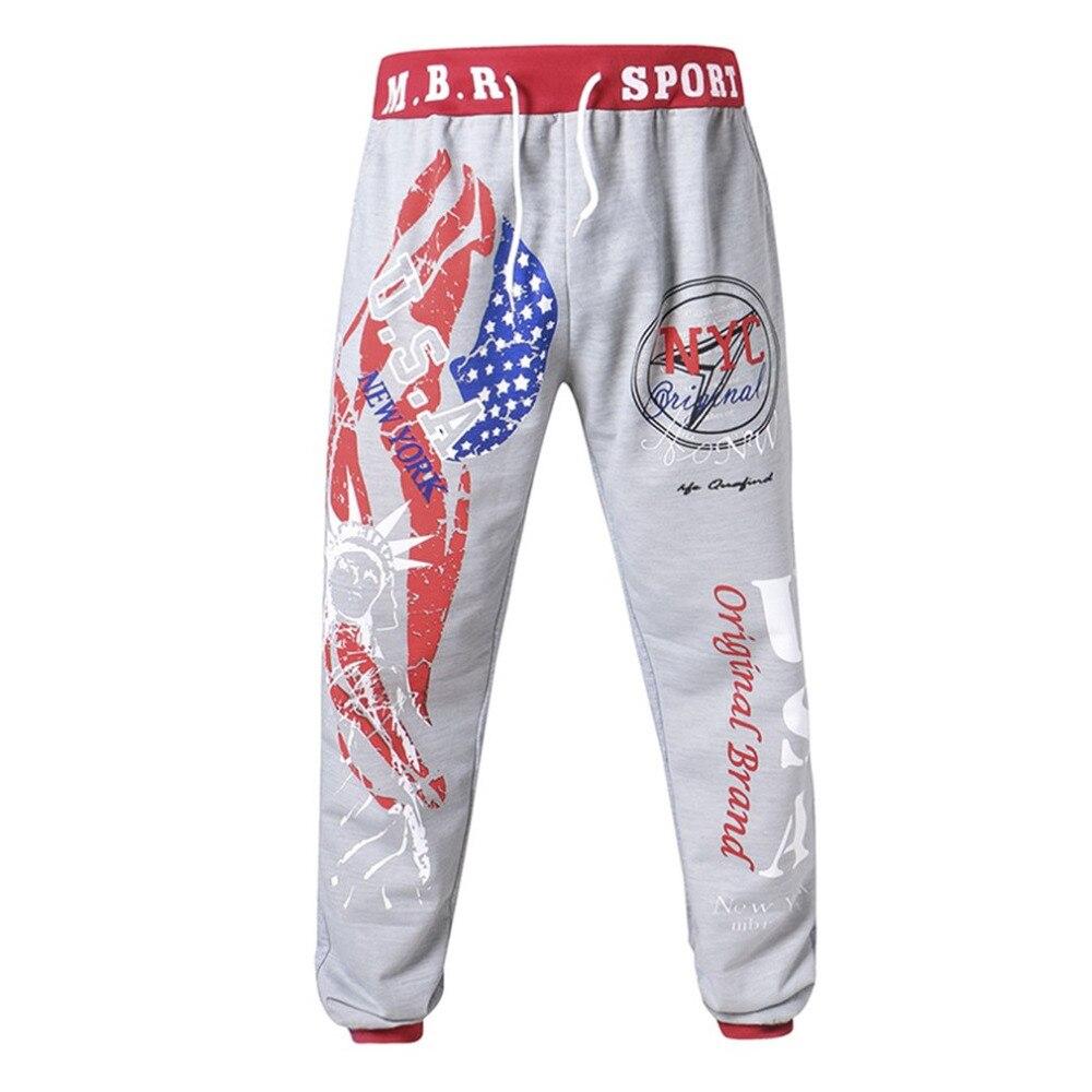 Männer Hip hop Lose Jogginghose Graffiti Jogger Hosen mit Flagge der Vereinigten Staaten & Statue von Liberty Print hosen