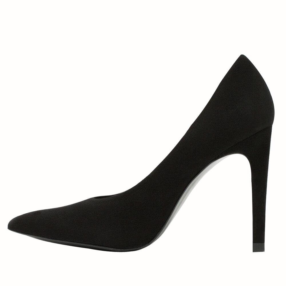 ФОТО New Arrival Women Pumps Nice Flock Pointed Toe Thin Heels Pumps Elegant Black Nubuck Leather Shoes Woman Plus US Size 4-15