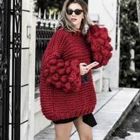 Autumn Coarse wool handmade knitted Sweater women Half turtleneck lazy Rough wool Knitted Lantern Sleeved 3D Yarn Ball Pullover