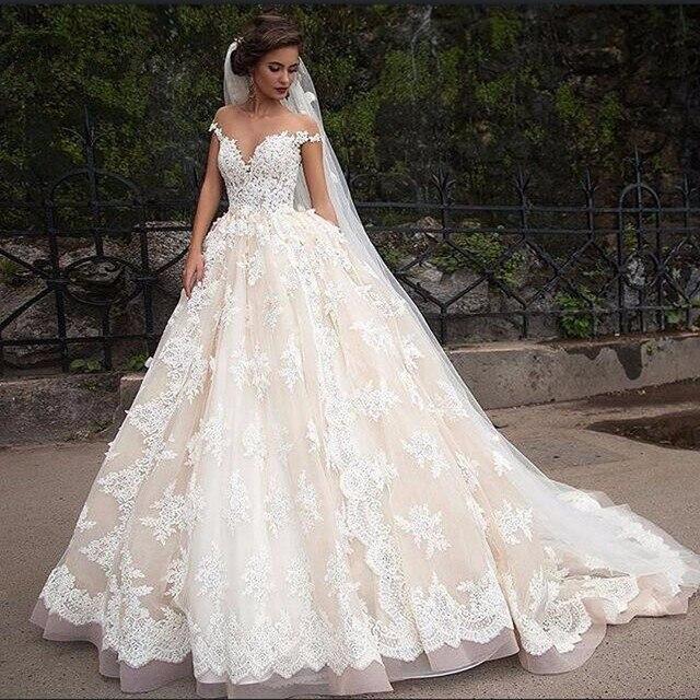 wedding dress lace vintage A Line Lace Applique Wedding Dresses ...