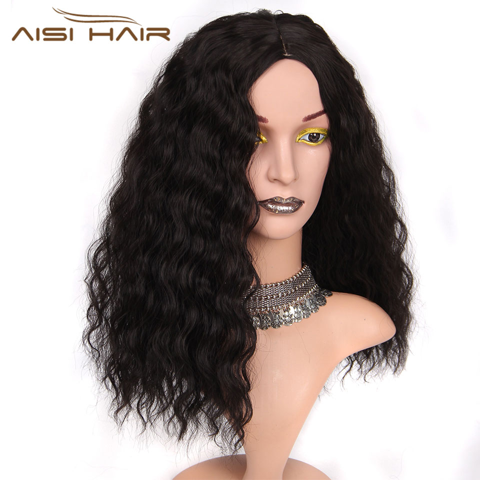 I's a wig 14Long Synthetic Black Wigs Short Hair for Black Women's Water Wave False Hair