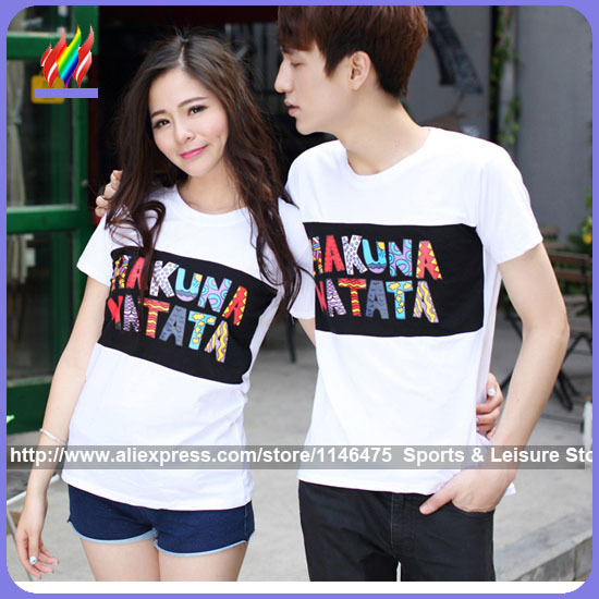 ca8596643e New Arrival Hot Sale Fashion Cute Korean Couple T-shirt For Lovers Summer  Cotton Letter