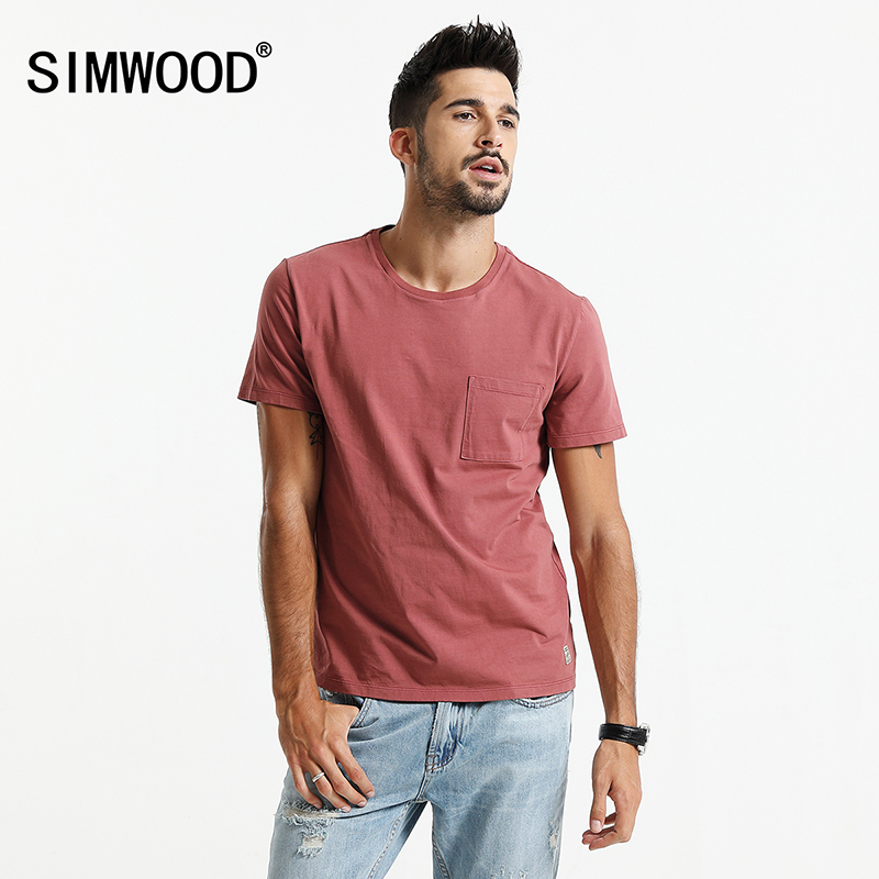 SIMWOOD 2018 Summer Short Sleeve T-Shirts Me Slim Fit T Shirt 100% Cotton Plus Size High Quality Brand Clothing TD017102 ...