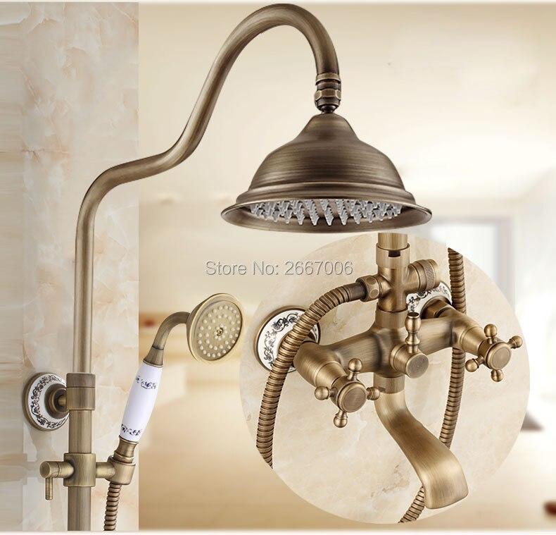 Free shipping New Arrivals Antique Brass Shower Faucet Set 8 Inch Rainfall Shower Head Hand Shower Sprayer Bath Shower Set GI234