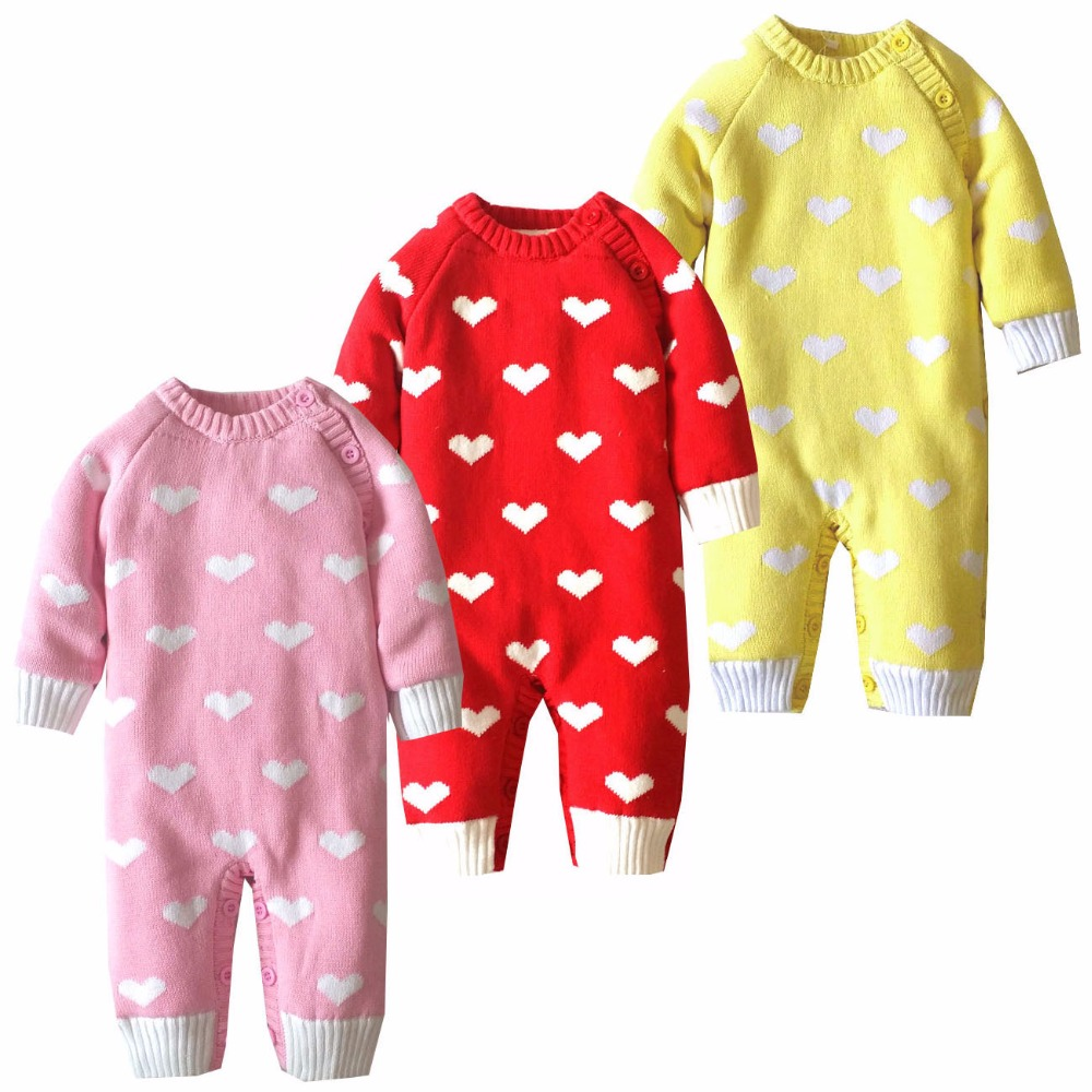 Baby Warm Thick Winter Knitted Sweater Rompers Newborn Boys Girls Jumpsuit Climbing Clothes Christmas Love Heart Hooded Outwear christmas 2017 brand new winter newborn infantil baby rompers kid boys and girls clothing real fur jumpsuit down overall jacket