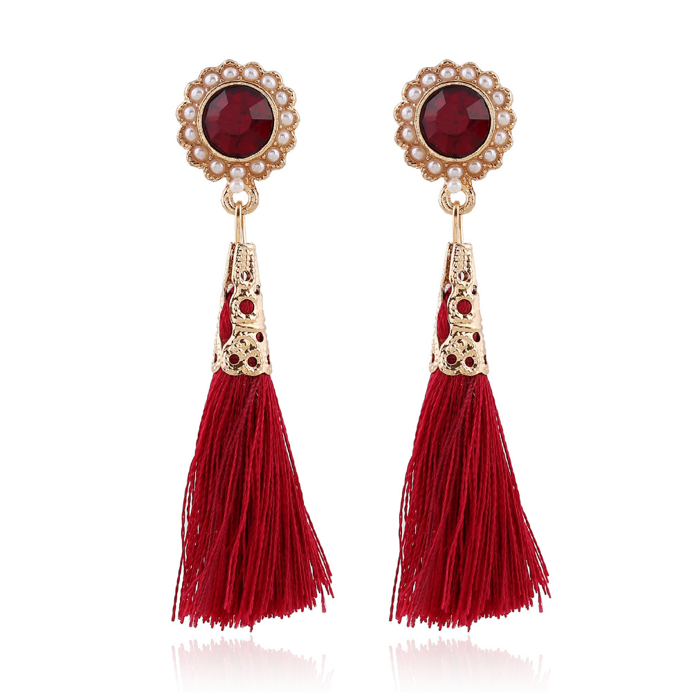 Lufang 2017 Fashion Bohemia Long Tassel Crystal Drop Stone Earrings Ethnic  Flower Red Girl Statement Earings