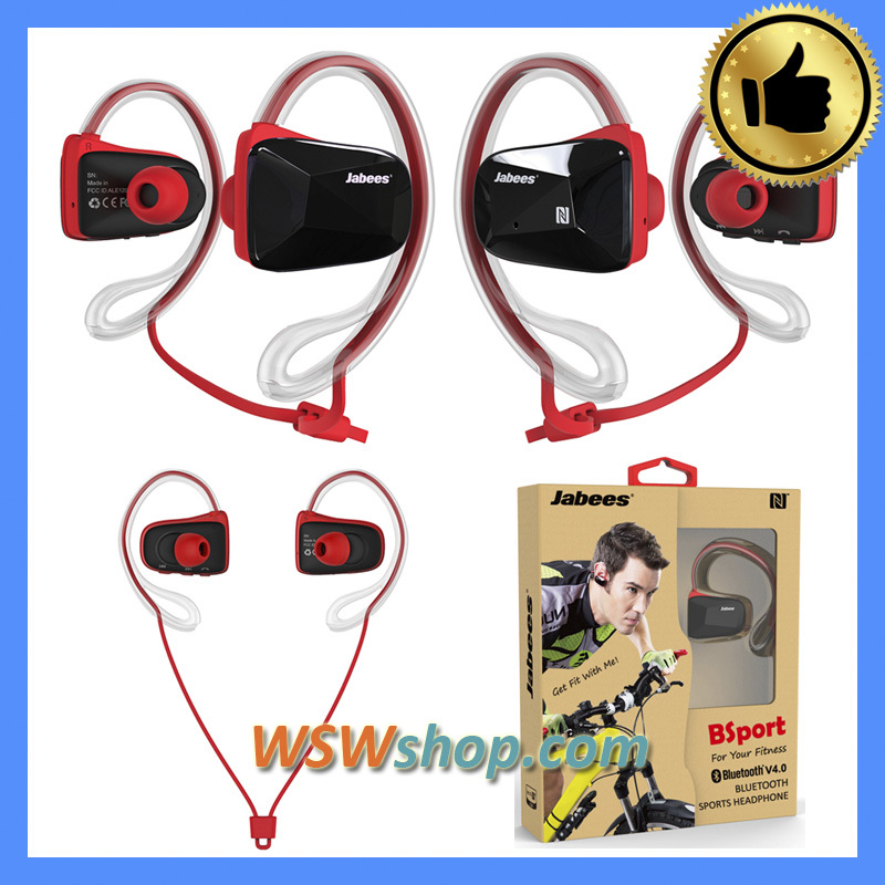 ФОТО 100% Genuine Jabees Bsport Bluetooth Wireless Handsfree Headset Sweat Proof Headphones With Mic Stereo Sport Earbuds Earphones