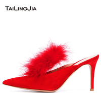 2018 Women Fashion Pumps Mules Slides Red Black Shoes Thin High Heel Woman Shoes Autumn Pointed Toe Ostrich Hair Sexy Pumps