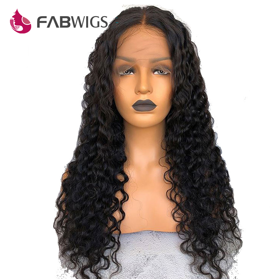 Fabwigs Brazilian Deep Wave Full Lace Human Hair Wigs with Baby Hair Pre Plucked Full Lace