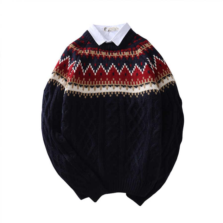 Теплый рождественский мужской свитер с круглым вырезом Джемпер Топ кабель вязаный свитер мужской пуловер свитера цвета Омбре свободная одежда Мужская мода 40MY021