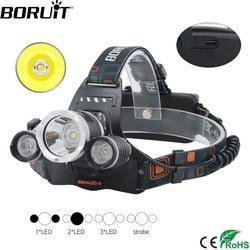 BORUiT RJ-3000 XM-L2 R2 Headlamp 4-Mode USB Charger Headlamp Waterproof Head Torch Fishing Hunting Flashlight by 18650 Battery
