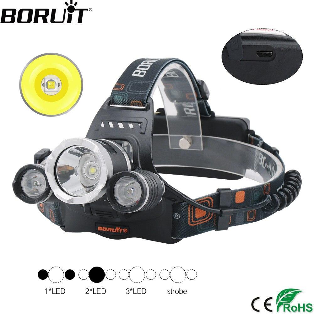BORUiT RJ-3000 XM-L2 R2 4 modo cargador USB faro impermeable linterna de cabeza pesca caza linterna por batería 18650