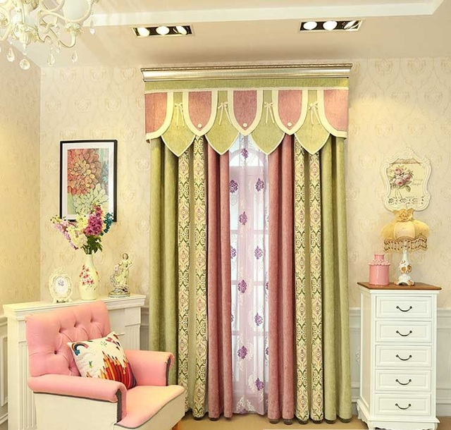 Pink Green Patchwork Jacquard Fl Chenille Window Blackout Curtain For Bedroom Living Room Children S 1pcs