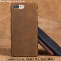 Genuine Leather Case For iPhone SE Back Cover Luxury Retro Crazy Horse leather Half Protect Cases
