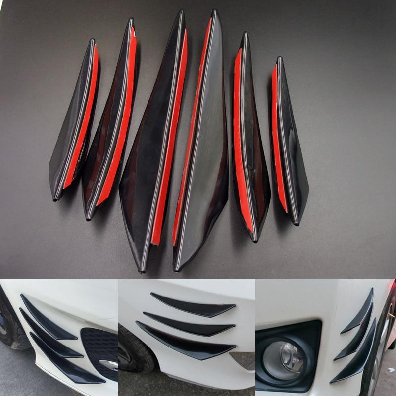 4 Pcs Carbon Effect Bumper Splitter Fin Spoiler Canard Valence Diffuser for Ford