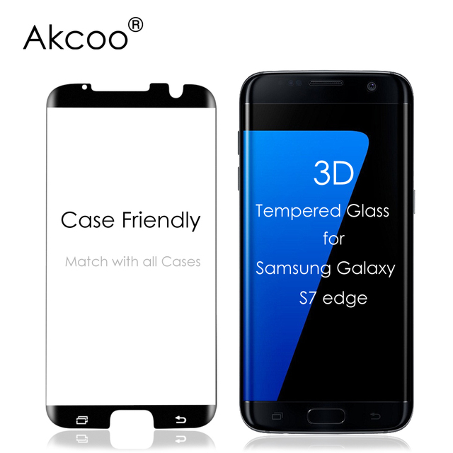 the best attitude a953d 0d133 US $9.19 8% OFF|Akcoo 3D Tempered Glass Screen Protector for Samsung S7  edge full cover Case Friendly Version Glass Screen Film for S7edge-in Phone  ...