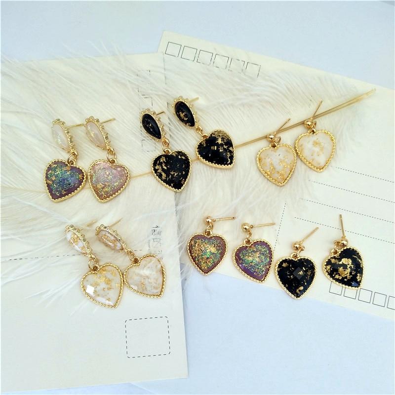 Fashion Classic Earrings Women Metal Bowknot Heart Resin Stud Earrings 2019 Female Golden Heart Stud Earrings For Woman Jewelry