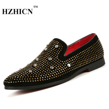 Handmade Men Black Nubuck Leather Shoes with Silver Rivet Fashion CL Same Style Casual Oxfords Loafers Red Bottom Men's Flats