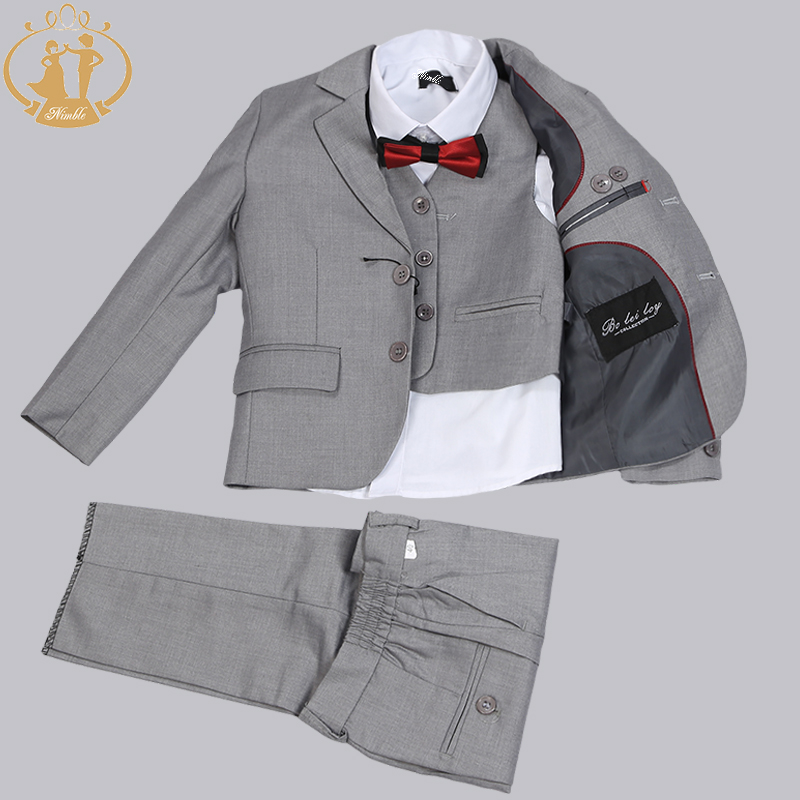 Nimble Brand New Formal Solid Boy Suits Set 3 stycken + Jacka + Pant - Barnkläder - Foto 1