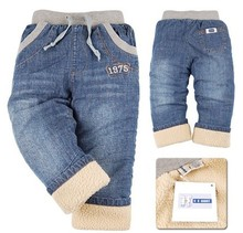 SK042 high quality 1pcs winter thick kids pants style warm cashmere baby boys jeans children trousers