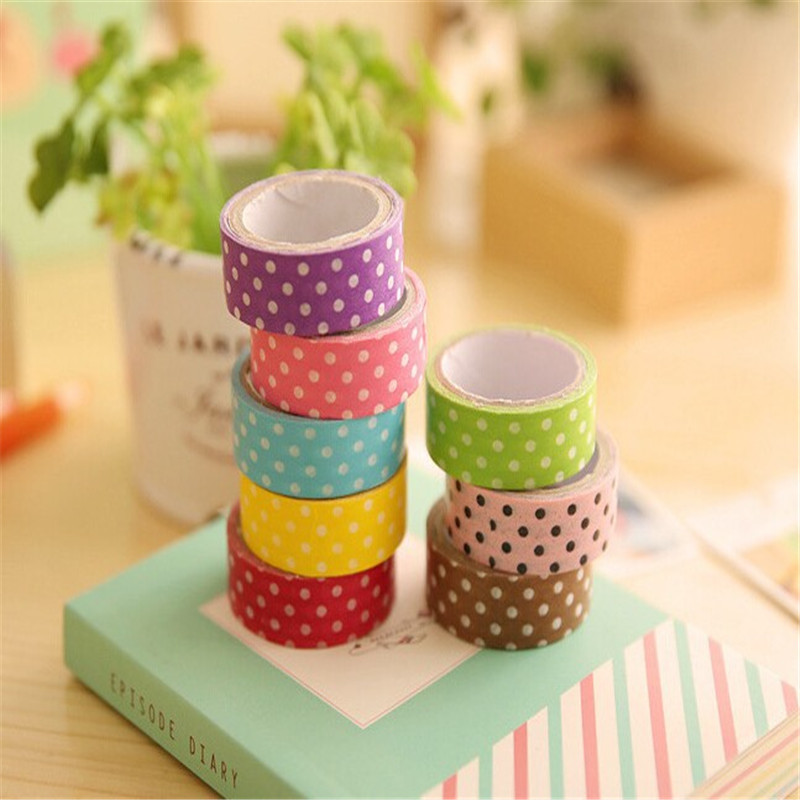 8 Pcs Decorative Adhesive Washi Tape Candy Color Polka Dots For DIY ...