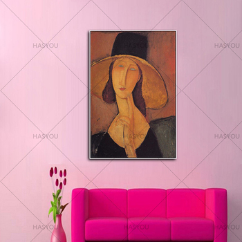 Handmade Abstract Art Canvas Woman Jeanne Hebuterne in Large Hat Canvas Picture For Living Room Home Wall Decoration Art Gift image