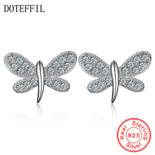 925 Sterling Silver Butterfly Insects Cubic Zircon Stud Earrings For Women Christmas Gift Earrings Jewelry Accessories 100% 925 sterling silver fashion butterfly ladies tassels stud earrings jewelry women anti allergy christmas gift drop shipping