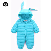 Autumn Winter Newborn Infant Baby Clothes Thicken Cotton Romper Lovely Cartoon Long Ear Rabbit Boys Suit