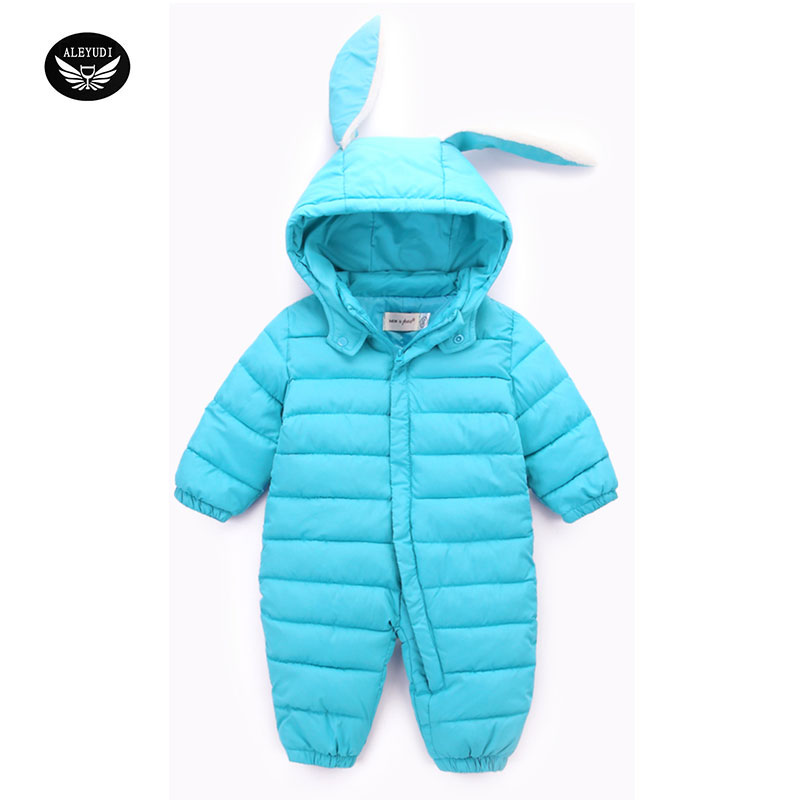 Autumn Winter Newborn Infant Baby Clothes Thicken Cotton Romper Lovely Cartoon long ear rabbit Boys Suit Winter Clothes купить