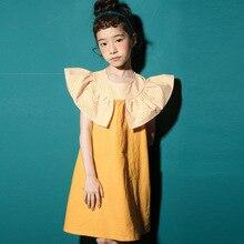 2018 fashion patchwork ruffles dress baby girls dresses for kids summer petal sleeve cotton princess children clothing